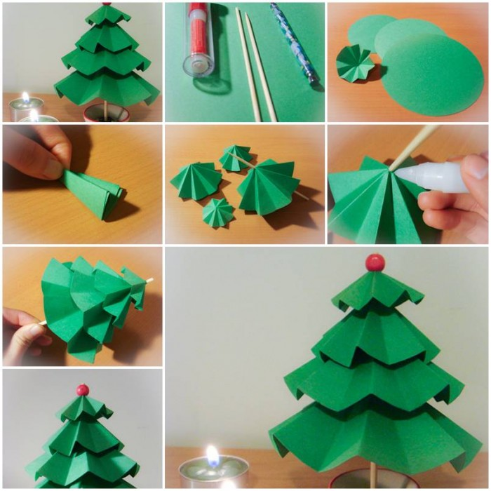 How to make simple Paper Christmas Trees step by step DIY tutorial instructions thumb – How To ...