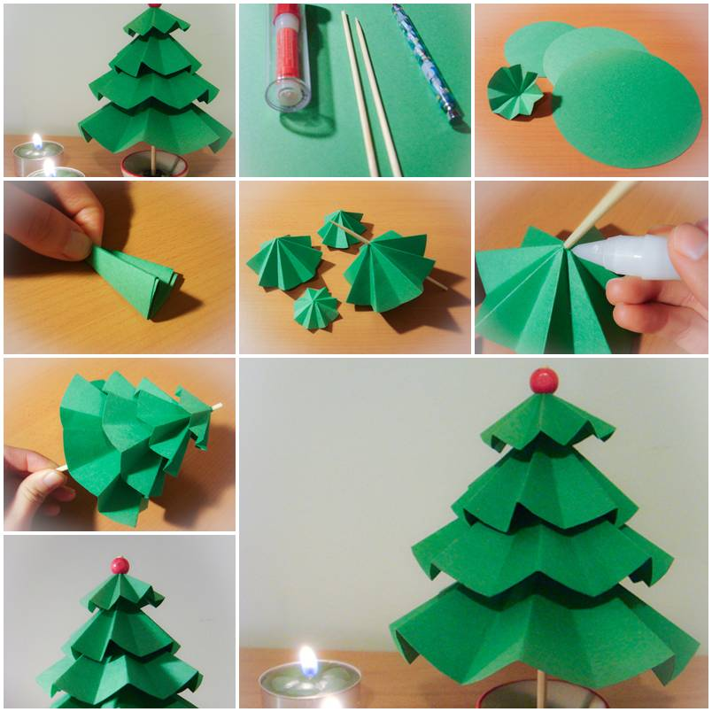 How to make simple paper christmas trees step by step diy for Paper christmas decorations to make at home