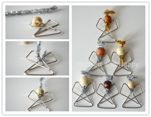 How to make simple cute paperclip angel ornaments step by step DIY tutorial instructions