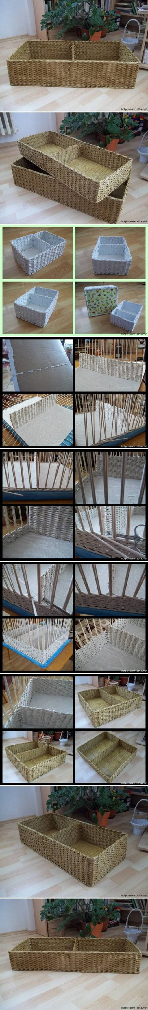 How to make storage baskets with Newspaper step by step DIY tutorial instructions