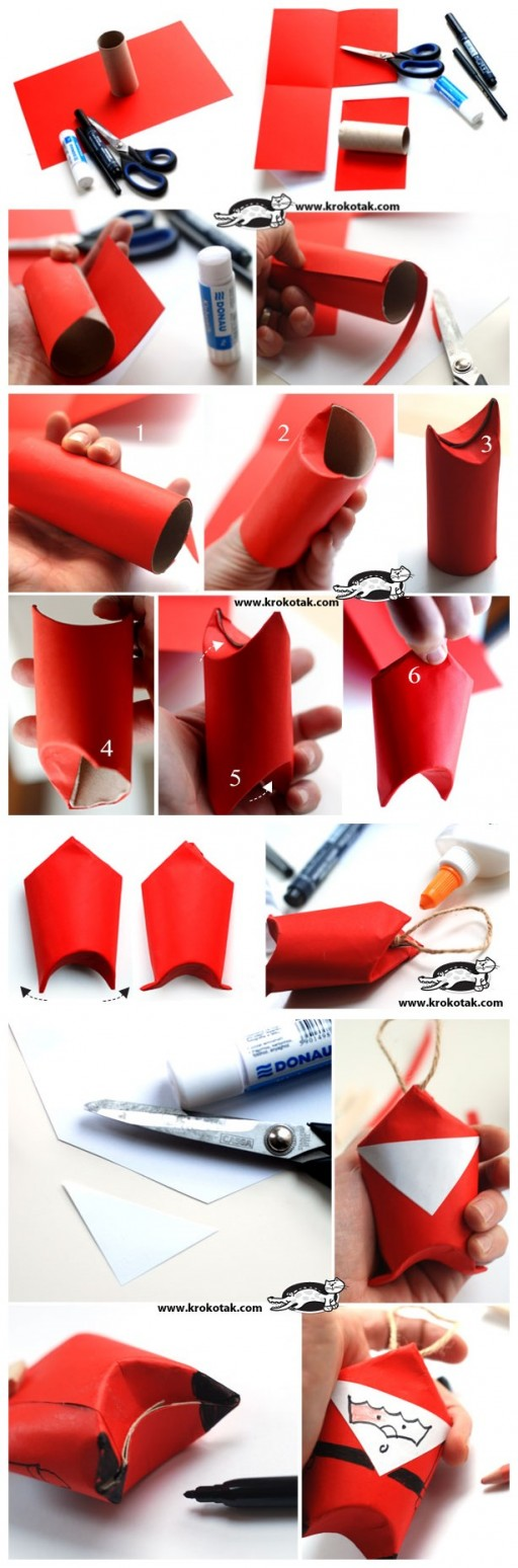How to make toilet paper roll Santa step by step DIY tutorial instructions