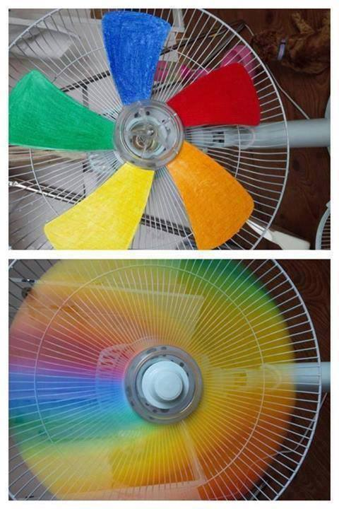 How to paint fan blades to get colorful rainbow effects step by step DIY tutorial instructions