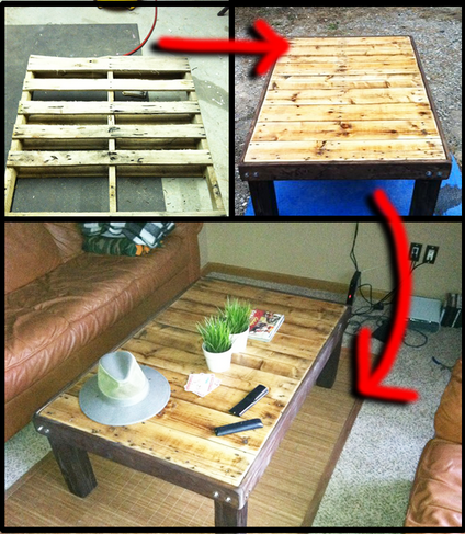 how to re purpose a wooden pallet into a coffee table step
