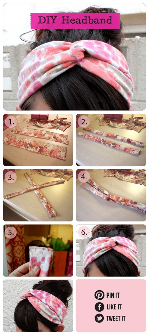 How to re-purpose an old t-shirt into a twisted Turban headband step by step DIY tutorial instructions