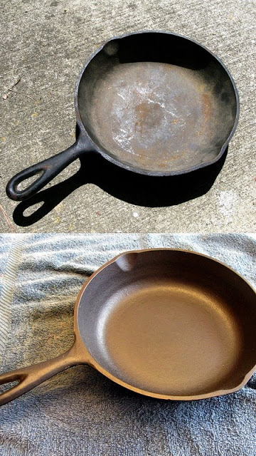 How to renew a rust cast iron cookware step by step DIY tutorial instructions