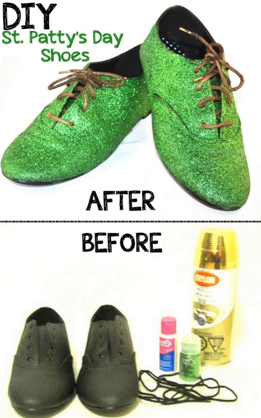 How to rework a pair of worn shoes into a sparkling one for St. Patricks Day step by step DIY tutorial instructions