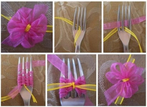 How to tie a beautiful simple bow with a fork step by step DIY tutorial instructions