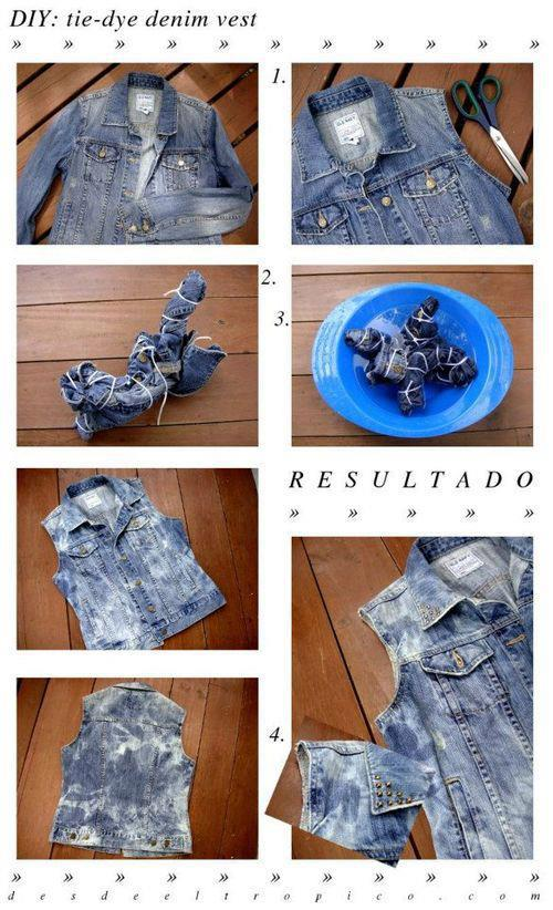 How to tie-dye a vest step by step DIY tutorial instructions