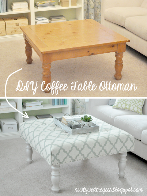 How to turn an old table into a custom designer upholstered ottoman step by step DIY tutorial instructions