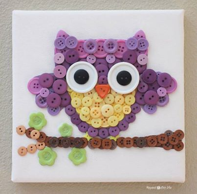 Mosaic button owl craft
