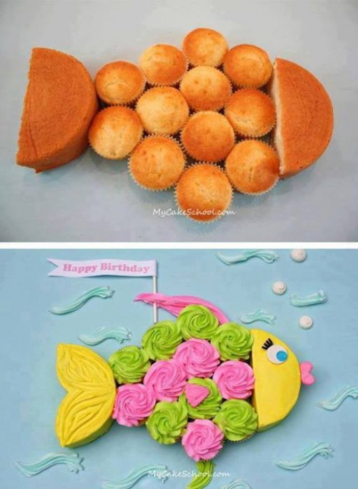 My cake school - How to make cute fish birthday cupcakes step by step DIY tutorial instructions