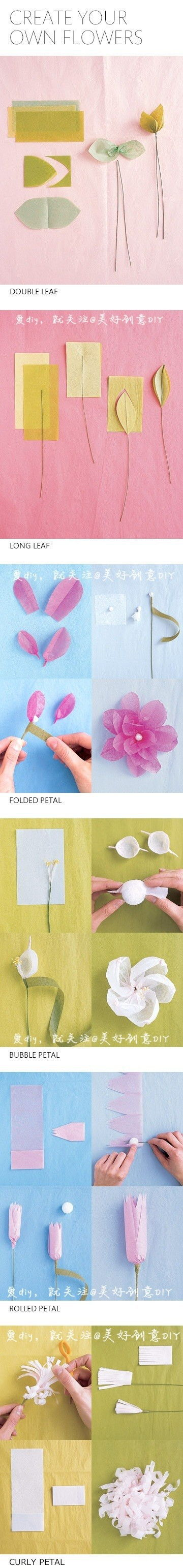 Six ways to make Beautiful Flowers step by step DIY tutorial instructions