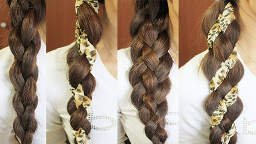 How to 4-strand hair braid – woven braid + 3D round braid hairstyles step by step DIY tutorial instructions