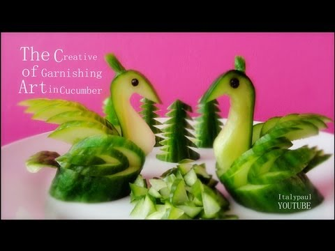 How to carve beautiful cucumber swan fruit art step by step DIY tutorial instructions