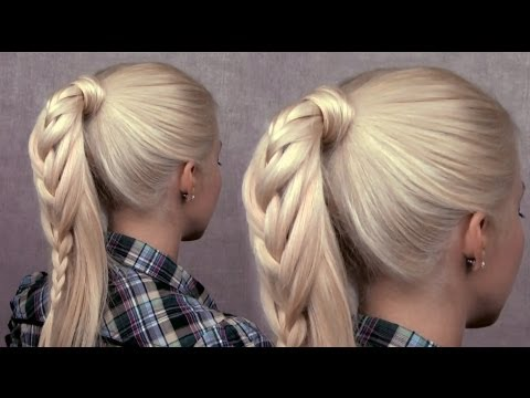 How to do braided pony tail hairstyles for medium to long hairs step by step DIY tutorial instructions