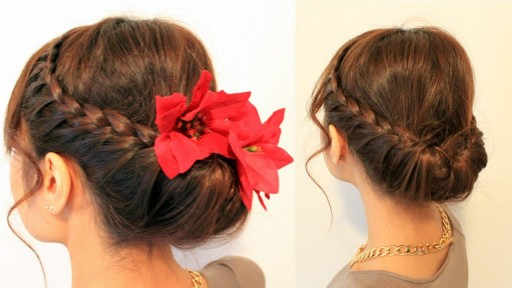 How to do do Holiday updo braided hairstyles for medium long hairs step by step DIY tutorial instructions