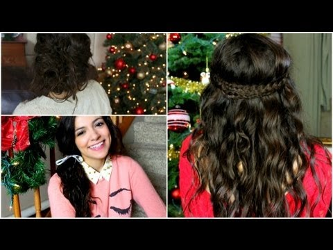 How to do no heat Holiday curls hairstyles for medium long hairs step by step DIY tutorial instructions