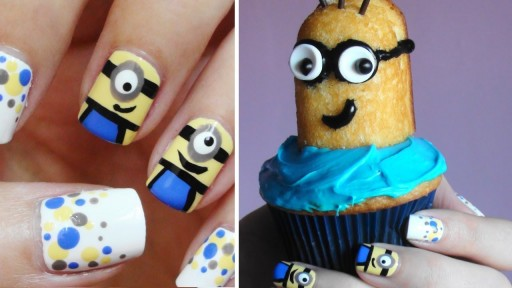 How to do simple adorable minion nail art manicure and cupcake step by step DIY tutorial instructions