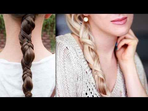 How to do simple ponytail braid long hairstyle for everyday criss cross step by step DIY tutorial instructions