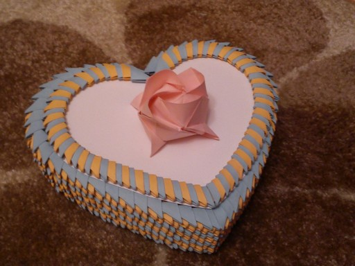 How to make 3D origami heart jewellery storage box step by step DIY tutorial instructions