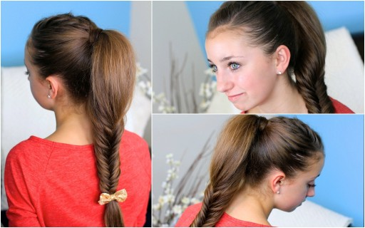 How to make a Fluffy Fishtail Braid hairstyles step by step DIY tutorial instructions