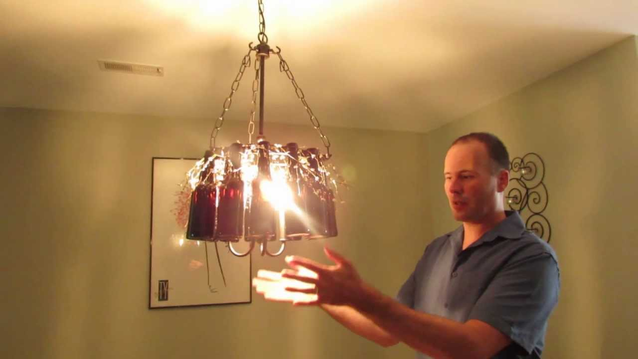 How to make amazing chandelier lighting fixture with beer bottles step by step diy tutorial - Build a chandelier ...