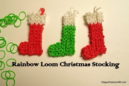 How to make Christmas Stocking ornament on Rainbow Loom step by step DIY tutorial instructions