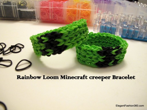 How to make Minecraft Creeper Bracelet on Rainbow Loom step by step DIY tutorial instructions
