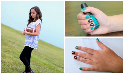 How to paint American football nail art manicure step by step DIY tutorial instructions