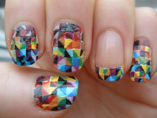 How to paint Colorful Kaleidoscope nail art step by step DIY tutorial instructions