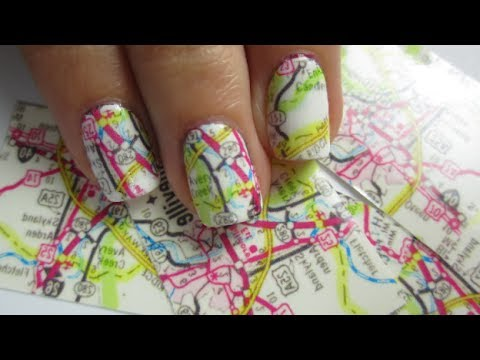 How to paint cool map nail art manicure step by step DIY tutorial instructions