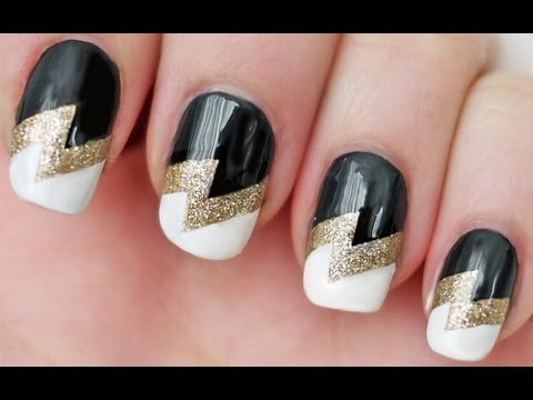 How to paint lightning bolt nail art mani step by step DIY tutorial instructions