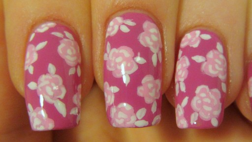 How to paint pink romatic vintage rose print design nail art manicure and cupcake step by step DIY tutorial instructions