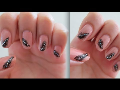 How To Paint Pretty And Elegant Feather Nail Art Manicure Step By Step Diy Tutorial Instructions