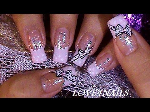 How to paint quick and easy bow tie nail art manicure and cupcake step by step DIY tutorial instructions