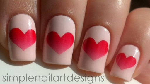 How To Paint Simple Cute Valentines Day Heart Nail Art Manicure