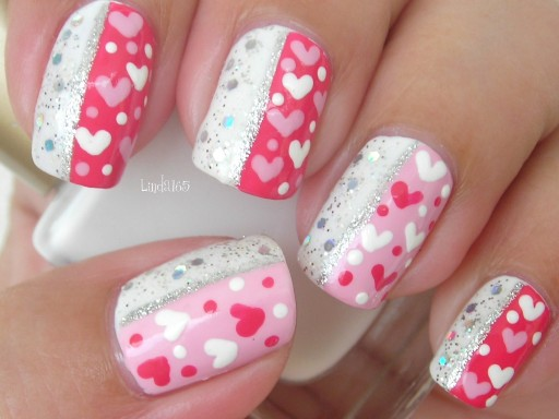 How to paint sparkly Valentine nail art manicure step by step DIY tutorial instructions