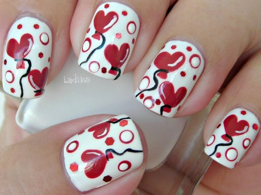 How to paint sweet Valentine heart balloons nail art manicure and cupcake step by step DIY tutorial instructions