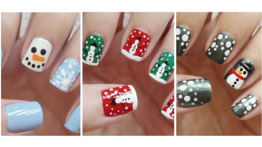 How to paint three simple snowmen nail art manicure and cupcake step by step DIY tutorial instructions