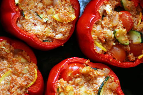 Cooking class - How to make delicious DIY couscous and feta-stuffed peppers step by step tutorial instructions