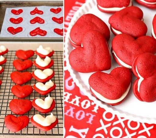 Culinary school - How to make red heart velvet whoopie pies step by step DIY tutorial instructions and recipe