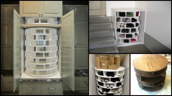Exceptional DIY Lazy Suzan Turntable Shoe Rack Storage