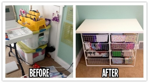 How to be organized with a DIY fabric storage station step by step tutorial instructions