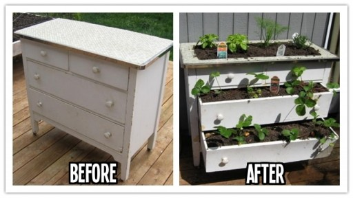 How to build a DIY garden planting box from a used dresser step by step tutorial instructions