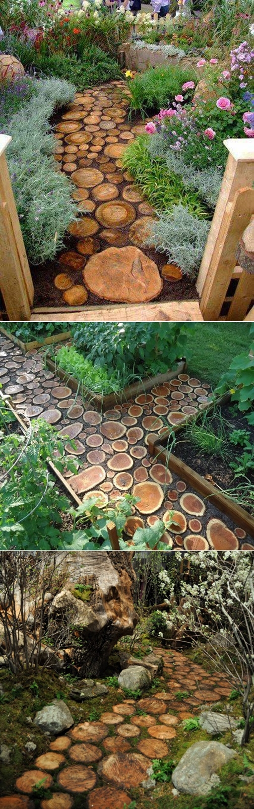 How to build a wood log pathway step by step DIY tutorial instructions