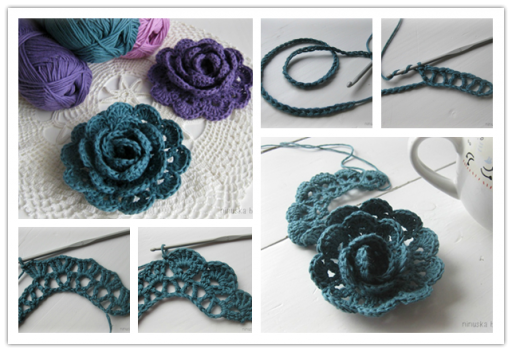 How to crochet lace ribbon rose flowers step by step DIY tutorial instructions