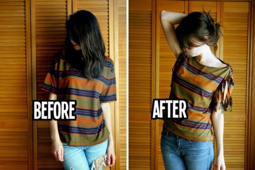 how to do no sew t shirt restyle upcycle step by step diy tutorial instructions - T Shirt Cutting Designs Ideas