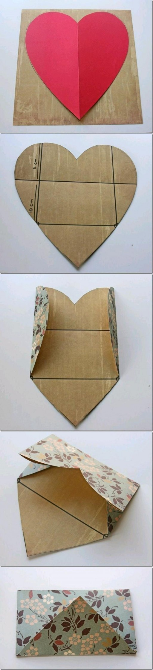 How to fold a cute DIY envelope from a heart step by step tutorial instructions (1)