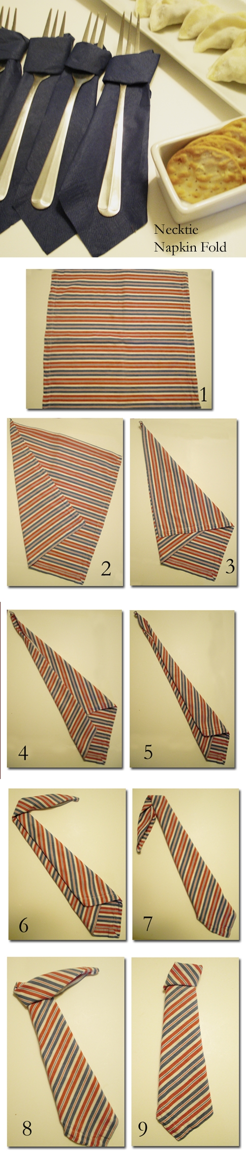 How to fold napkin in neck tie shape step by step DIY tutorial instructions