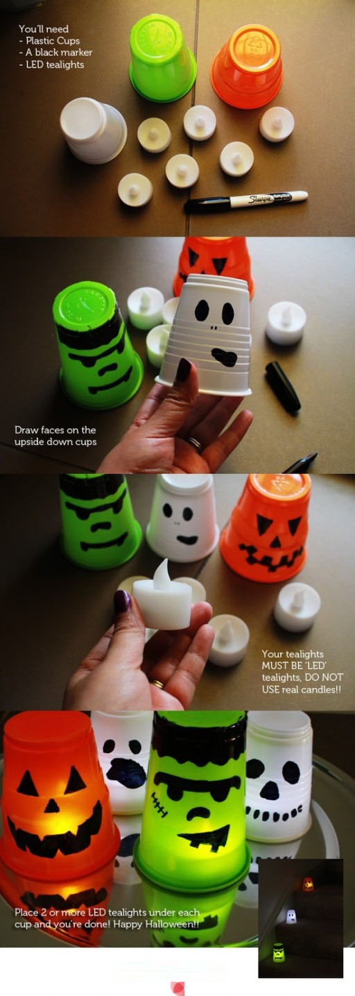 How to make DIY LED glowing plastic cup Frankenstein jack-o-lantern step by step tutorial instructions